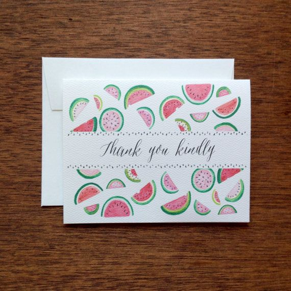 Watermelon Thank You Notecard Set by NattyMichelle on Etsy, $10.00 - Cute Thank You Notes