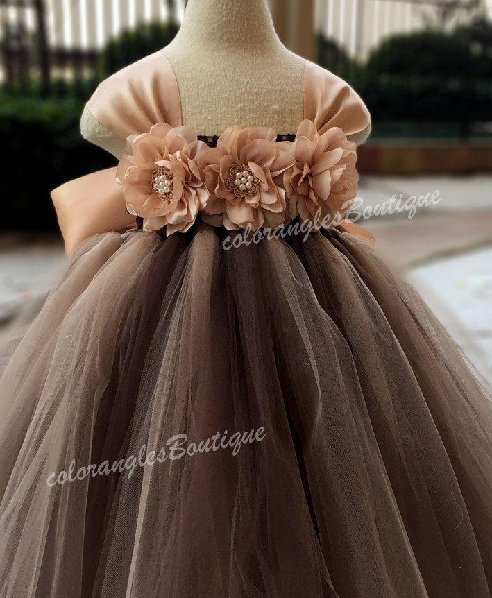 Flower girl dress chiffton flowers Brown champagne tutu ...