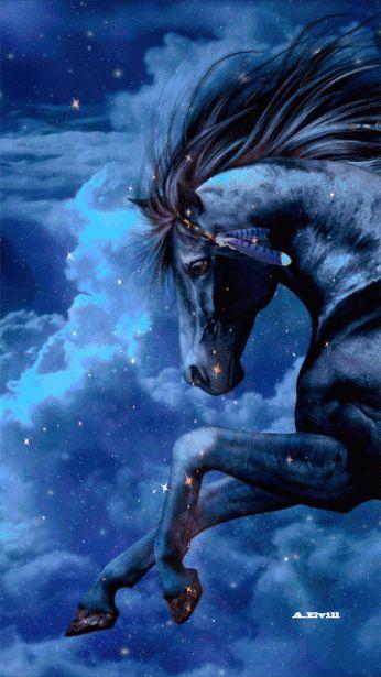 BLACK FANTASY HORSE GIF, IPHONE WALLPAPER BACKGROUND