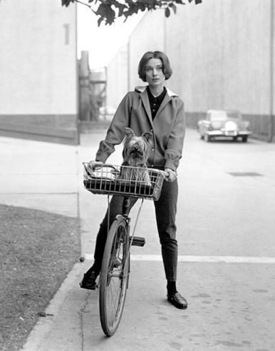 Audrey Hepburn; On her Bike with Her Famous Dog at Paramount Studios, 1957 with her #Yorkie see the lookalike #shoes from #FamousFootwear
