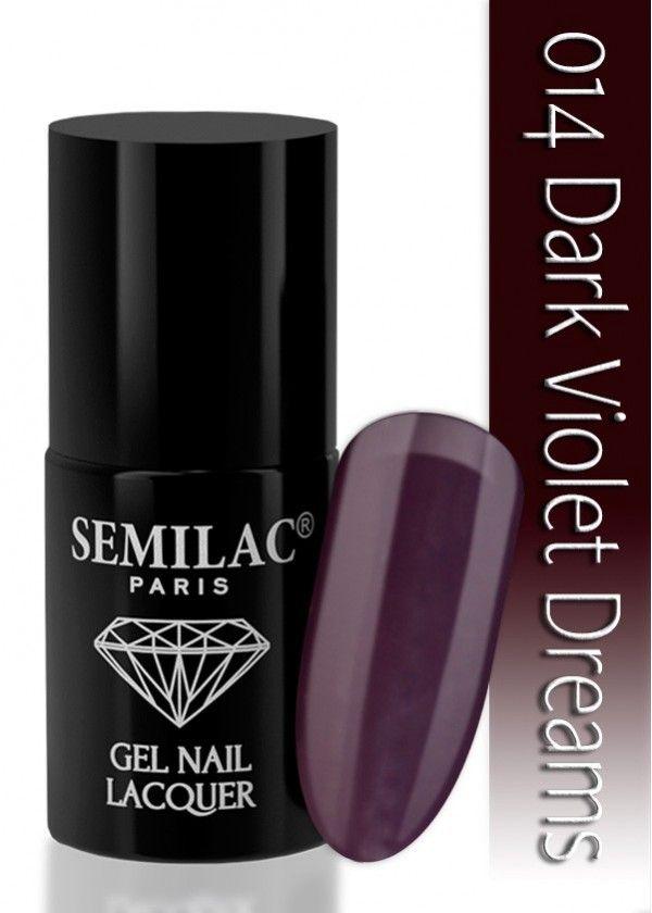 Semilac 014 Dark Violet Dreams UV&LED Nagellack. Keine Trocknungszeit, keine Schädigung der Nägel, schöne Maniküre für drei Wochen