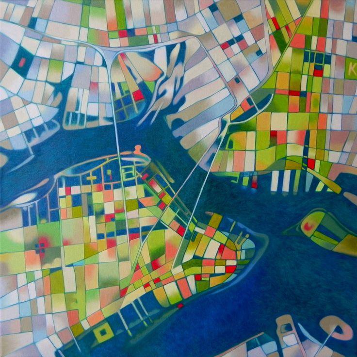 "Federico Cortese: ""Imaginary map of New York"". Oil on canvas, 50 x 50 cm, 2014."