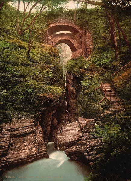 I traveled by steam train to visit the Devil's Bridge, Wales