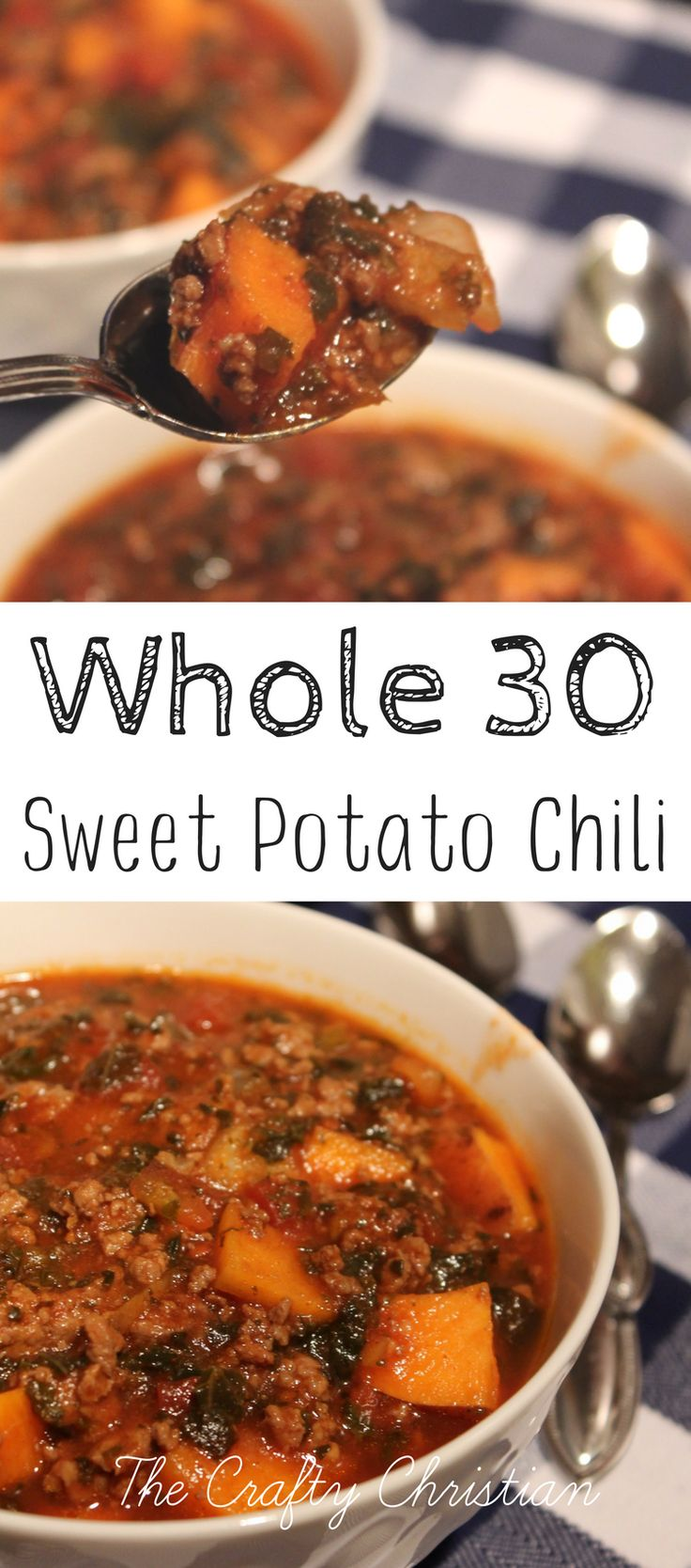If you're looking for a hearty Paleo & Whole30 Chili recipe, then this one is perfect for you!  It's nutrient dense, with healthy fats, complex carbs, and veggies.  This chili is a must-try if you're sensitive to legumes and looking for a... #beefchilirecipes #crockpotchili #crockpotchilirecipes