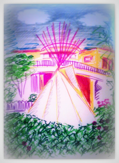 Indian tent in Solana Beach private patio