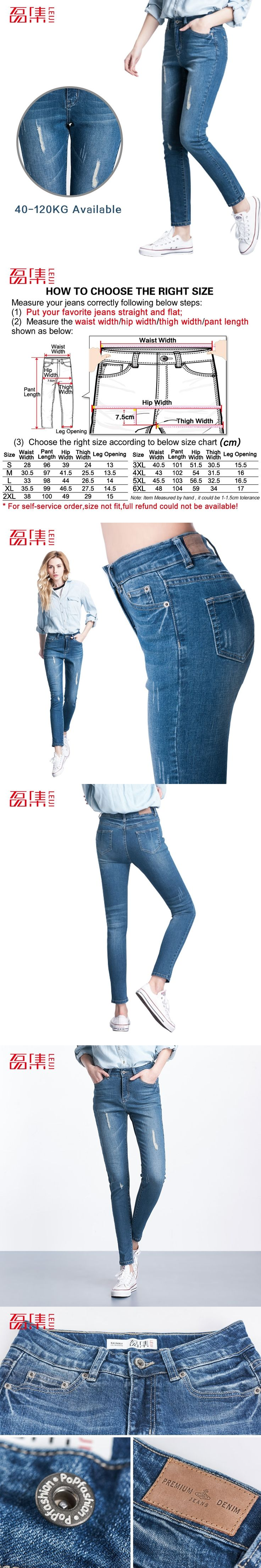 Plus Size 2017 Leiji Fashion Women Elastic Ripped Blue Denim Jeans Pencil Casual Skinny Pants Mid Waist Women Trousers