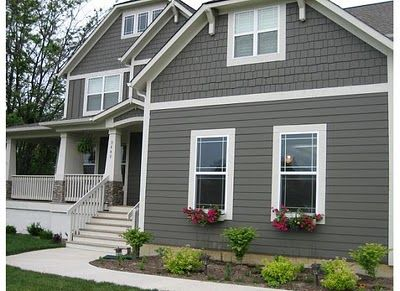 Best 25 grey exterior paints ideas on pinterest exterior paint design ideas gray house white - Grey painted house exteriors model ...