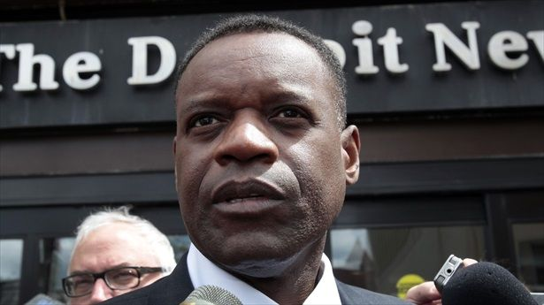Detroit's emergency financial manager Kevyn Orr talks to members of the media outside the Detroit Newspapers building about the report he delivered to the State of Michigan about Detroit's finances, in Detroit, Michigan May 13, 2013. [REUTERS/Rebecca Cook]