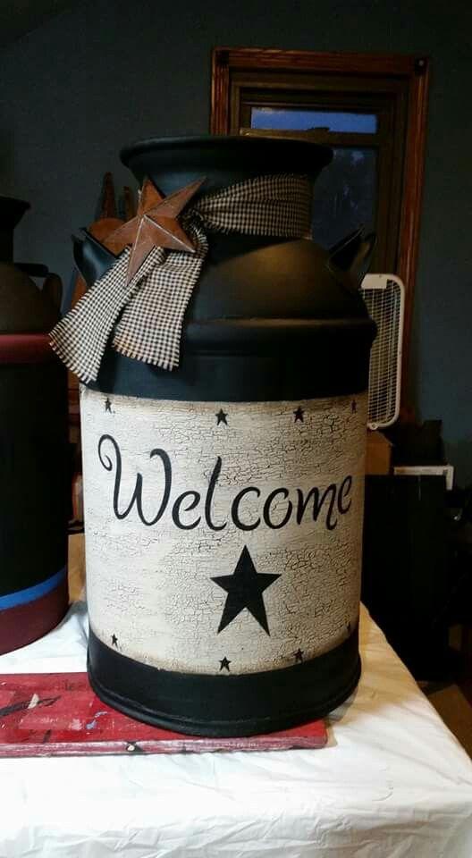hand painted milkcan