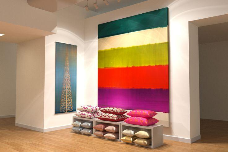 Silk fabric cushions and panels @L E Bon Marche