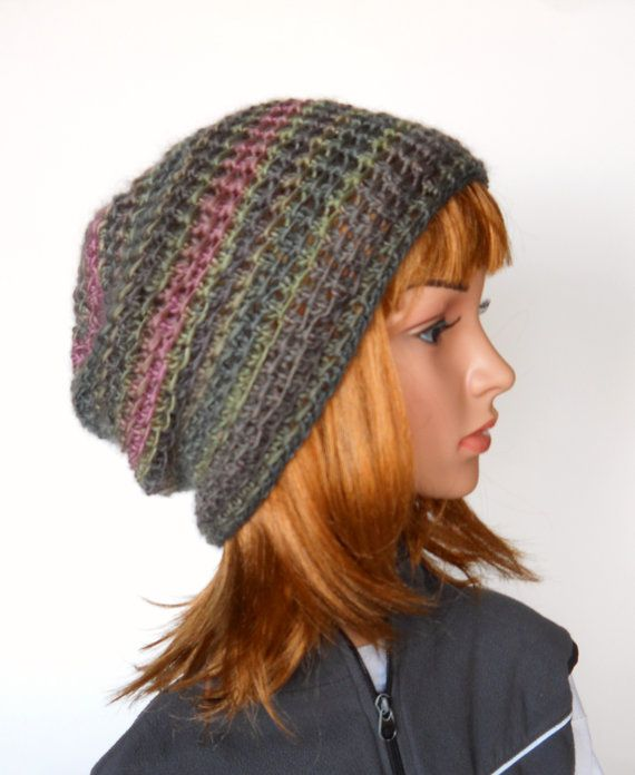 Slouchy Beanie in Fading Greys and Pink Handknit Spring by Pikeys