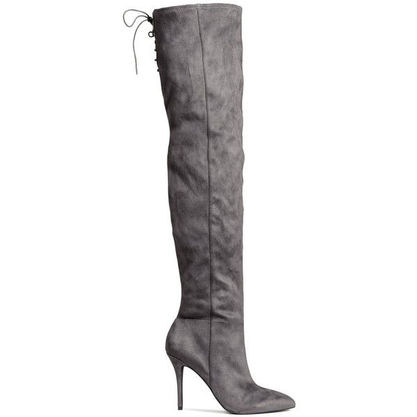 H&M Thigh high boots ($61) ❤ liked on Polyvore featuring shoes, boots, h&m, dark grey, zipper boots, above the knee boots, pointy toe boots, pointy toe thigh high boots and zip boots