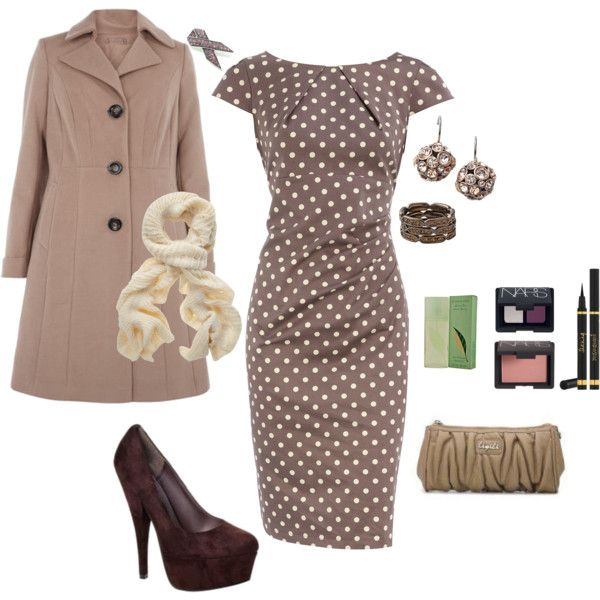 "Outfit  ""PRETTY WOMAN"" polka dots...classic dress and tailored topper."