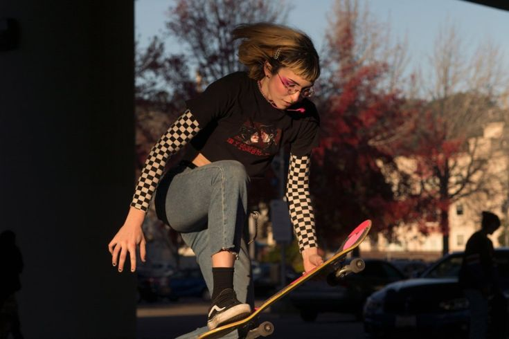"""Mae Ross, 20, skating at the Rockridge BART Station in Oakland, Calif. Before joining Unity, Ross said, """"I would always skate alone."""""""