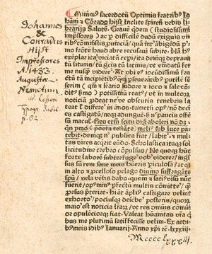 Philobiblon - A book about books: The first page of Richard de Bury's <i>Philobiblon</i>, printed in Speyer by Johann and Conrad Hist in 1483
