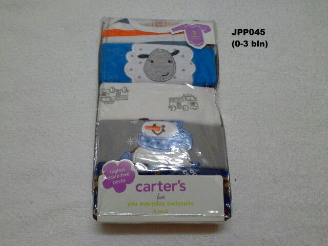 #Baju Jumper Carter Lgn Panjang (JPP045) ~ 105ribu/pak (isi 5pc) ~ Ukuran : 3M. Untuk umur : 0-3 bln, Panjang badan bayi 55-61cm (3-5kg)