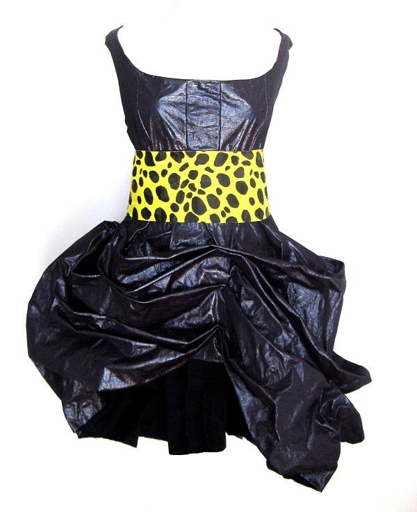 New design by Christina Skarpeli >Black Shine Dress & Animal print Belt