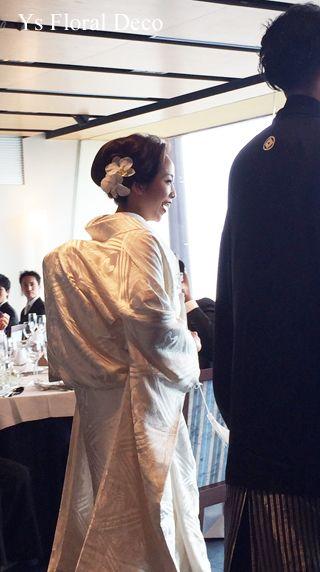 白い胡蝶蘭のヘッドドレス Ys Floral Deco @鎌倉 鶴岡八幡