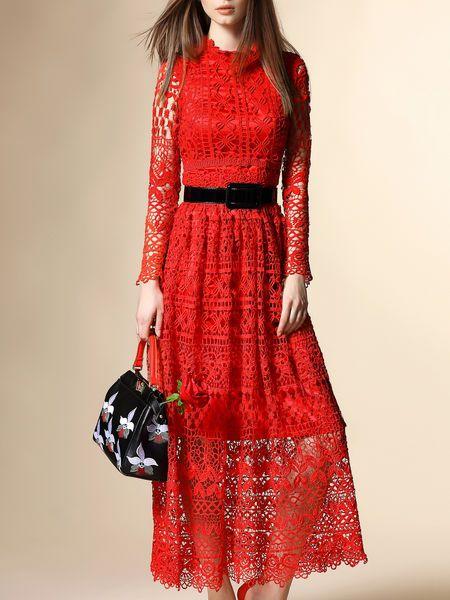 Pierced Cotton-blend Lace Midi Dress
