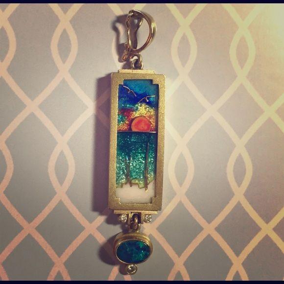 "I just added this to my closet on Poshmark: 18K gold James Carter Seaside Pendant Diamond Opal. Price: $1700 Size: 2.25 x .5"""