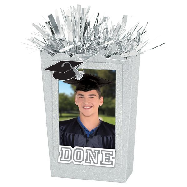 Large Personalized Silver Graduation Balloon Weight Centerpiece