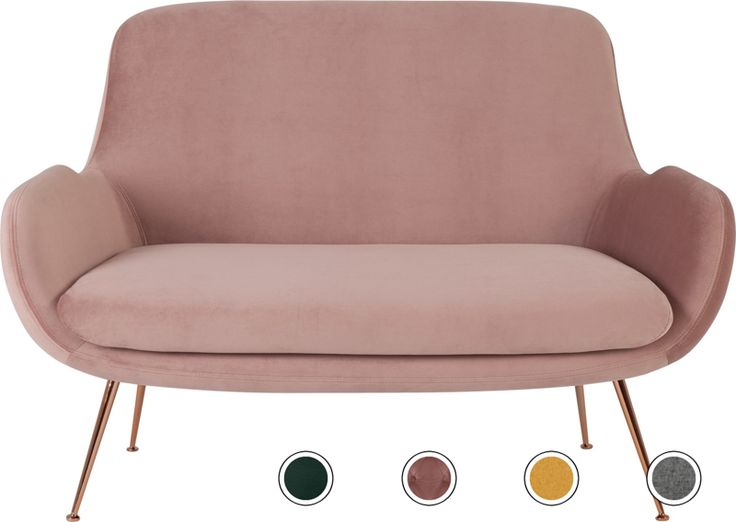 Moby 2 Seater Sofa, Vintage Pink Velvet from Made.com. In the battle of comfort vs. style - Moby's going for gold. Sink into the deep padded seat cu..