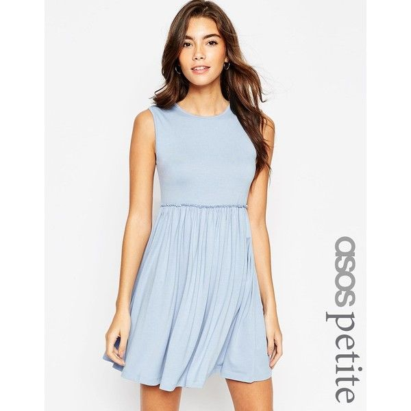 ASOS PETITE Sleeveless Babydoll Dress ($36) ❤ liked on Polyvore featuring dresses, petite, red, babydoll dress, blue sleeveless dress, asos, sleeveless dress and round neck sleeveless dress