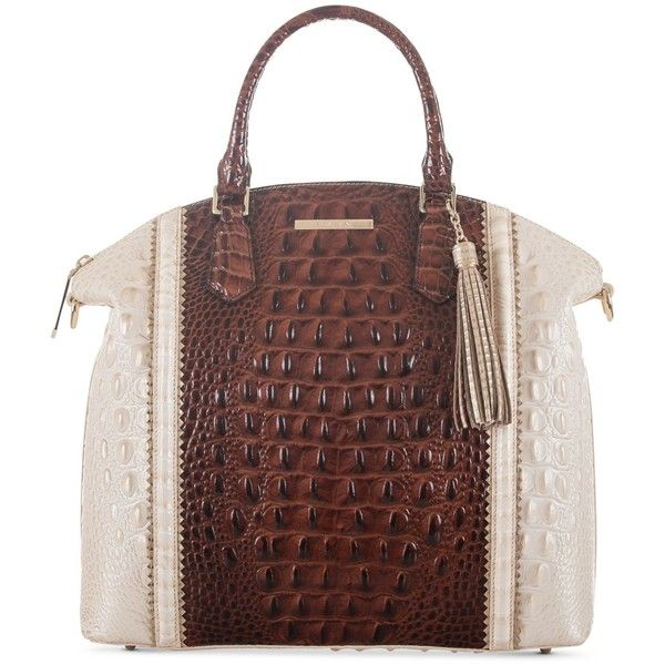 Brahmin Large Duxbury Pecan Soriano Satchel ($335) ❤ liked on Polyvore featuring bags, handbags, pecan, brown satchel handbag, color block handbag, colorblock satchel, brahmin bags and brown bag
