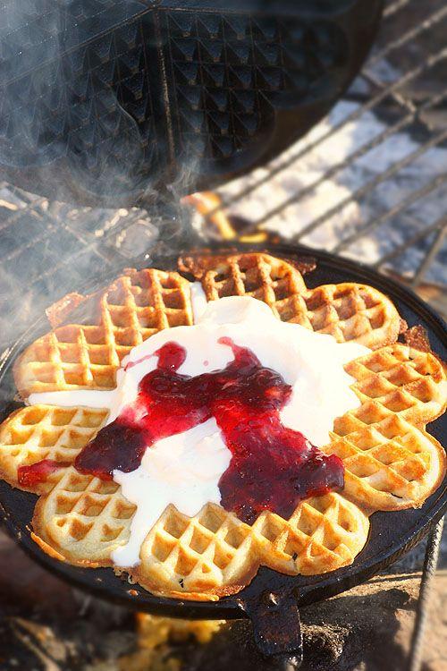 Våfflor med sylt o grädde! Waffels with jam and fresh whipped cream.