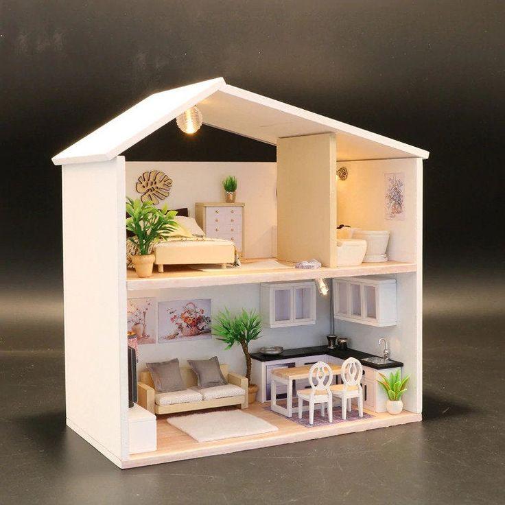 Diy easy msd wooden dollhouse model two storey house