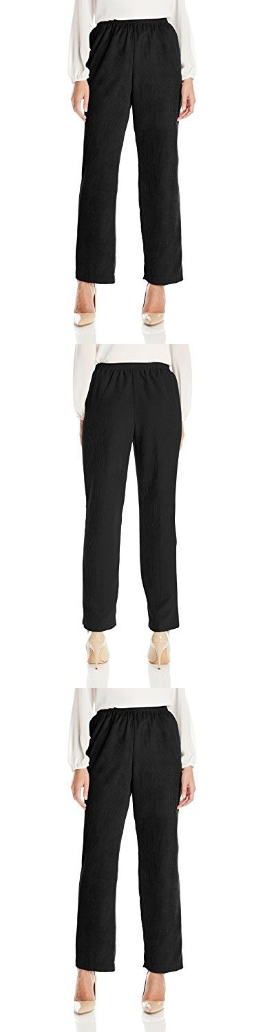 Alfred Dunner Women's Plus Size Classic Short Length Cord Pant, Black, 16W
