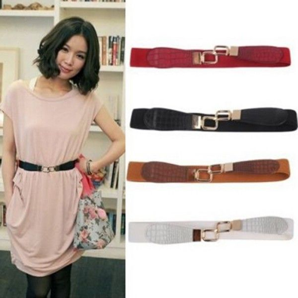 >> Click to Buy << Womens Metal Gold Buckle Elastic Stretch Waist PU Leather Fashion Belt Waistband #Affiliate