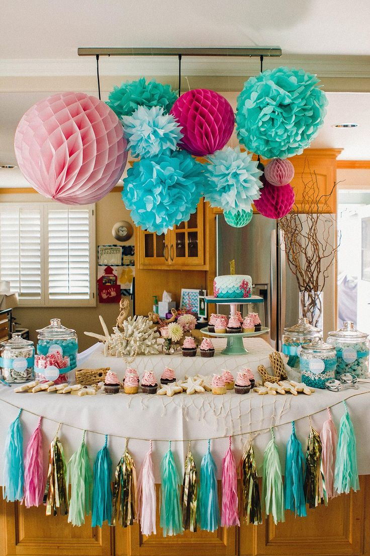 Table decoration for party - Fun Girls Mermaid Themed Birthday Party Shell Cookies Starfish Cupcakes The Little