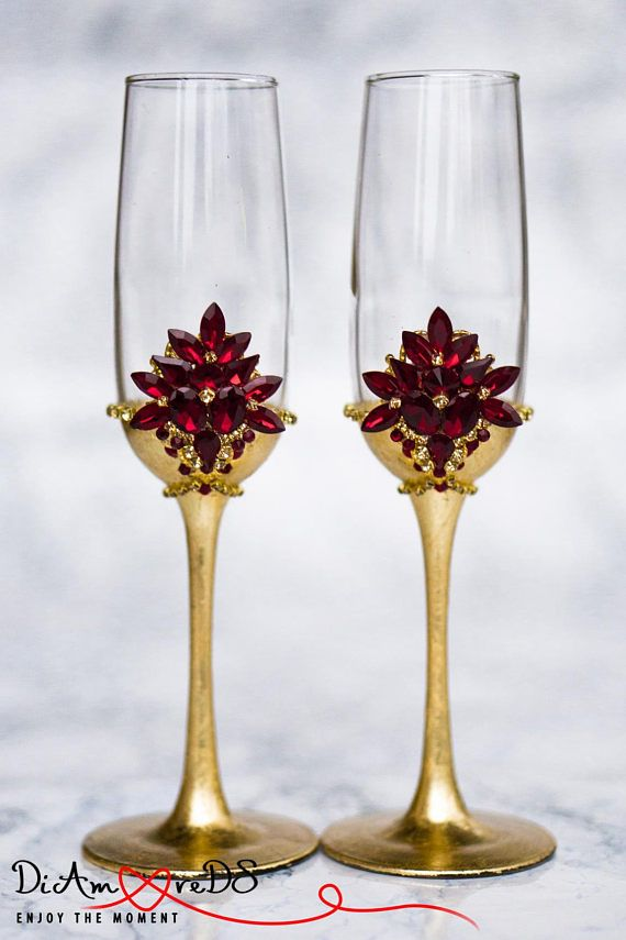 Personalized Champagne Flutes Wedding Toasting Gles Red And Gold Crystal Bride Groom