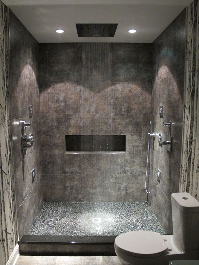 the spa bathroom alan and i need this so we both could actually fit under the shower head - Rain Shower Heads