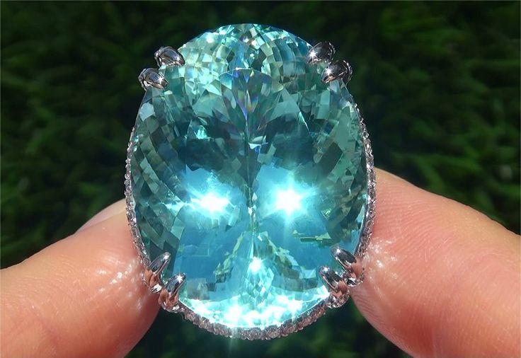 Paraiba Tourmaline Rings | ... 12 Ct Flawless Paraiba Tourmaline Diamond Platinum Estate Ring | eBay