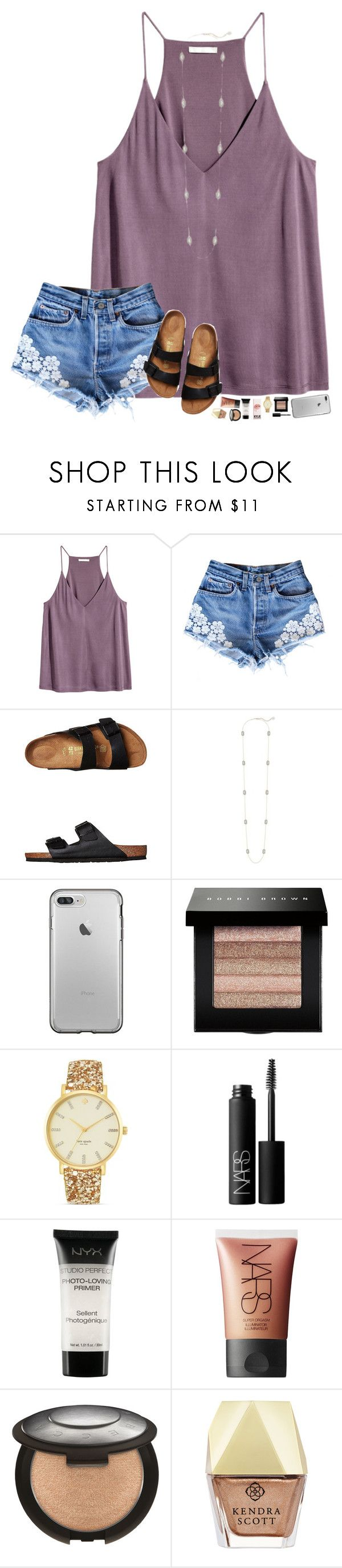 """friday & 81°"" by hopemarlee ❤ liked on Polyvore featuring Birkenstock, Kendra Scott, Bobbi Brown Cosmetics, Kate Spade, NARS Cosmetics, NYX and hmsloves"