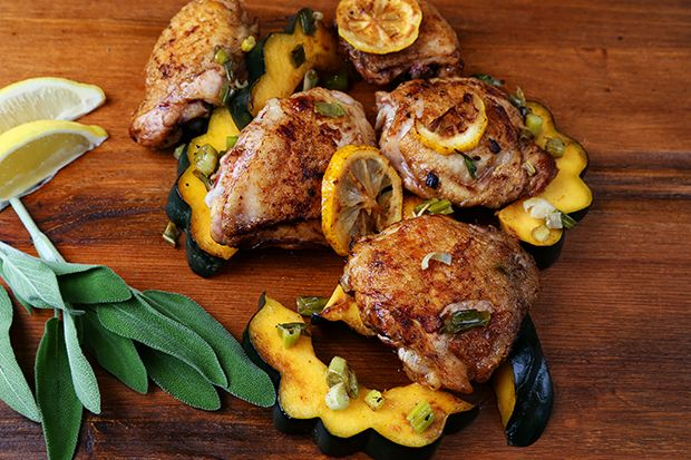 Chicken Thighs with Roasted Acorn Squash  & Canadian Maple Syrup