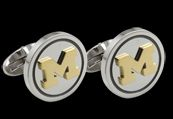 Beliza Design | University of Michigan Cufflinks - C51Z0279 - University of Michigan Stainless Steel Round Cufflinks with Gold IP Block 'M' Logo  Like us on Facebook for 30% off! https://www.facebook.com/CNoteUniversityofMichigan