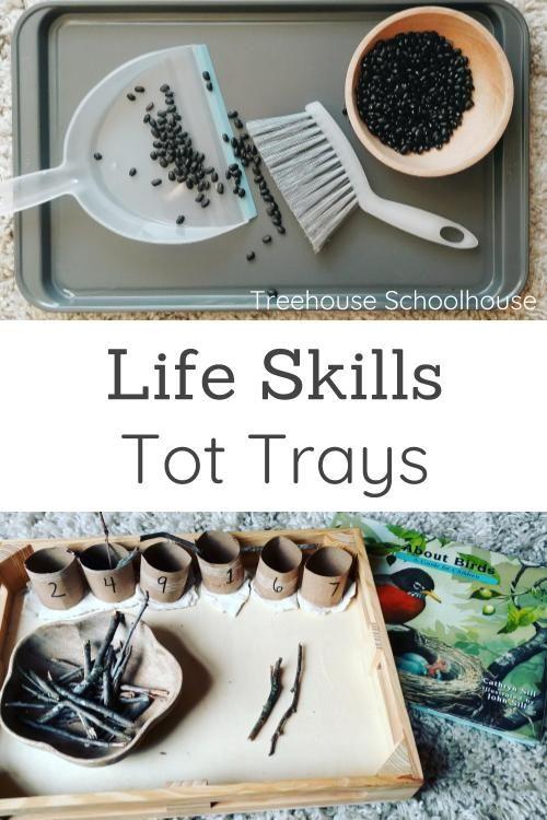 Tot Trays for Life Skills | Treehouse Schoolhouse #tottrays #homeschool #preschool #homeschoolpreschool #totschool #toddleractivities #lifeskills #montessori