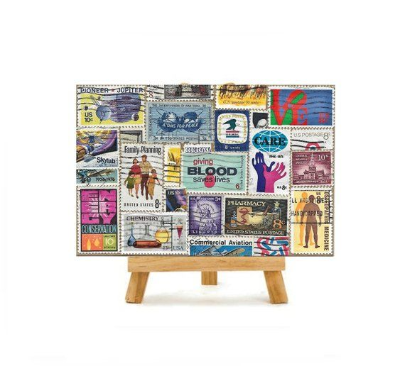 Vintage Postage Stamp Collage Mixed Media Art with easel Stamp Collector philatelist gift Mid Centur