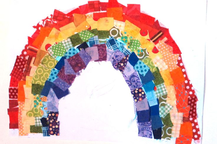 Fabric Scraps Rainbow - easy toddler art activity - draw crayon strips underneath so they know what colour to put where