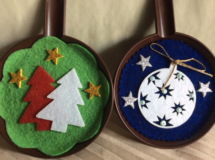 Christmas ornaments on recycled plastic saucers #3