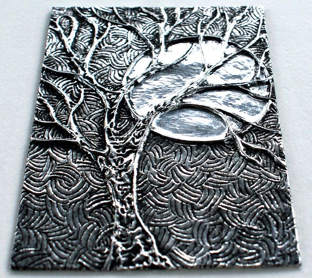 Winter Tree and Moon ACEO - embossed metal | Flickr - Photo Sharing!