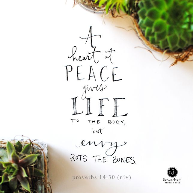 """""""Envy takes a toll: """"A heart at peace gives life to the body, but envy rots the bones"""" (Proverbs 14:30). For all of us who struggle, here's the way out..."""" - Liz Curtis Higgs 
