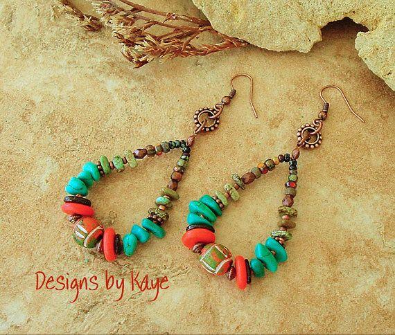 Bijoux turquoise, boucles d'oreilles Pierre rustique Boho Turquoise, bijoux colorés de sud-ouest, Tribal, Original fait main bohèmes Designs par Kaye