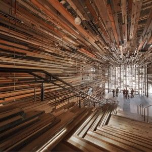 March Studio adds thousands of timber planks   to staircase of Canberra's Hotel Hotel #architecture ☮k☮
