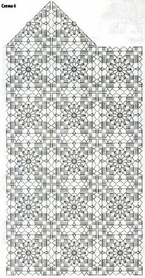 Длинный белый кардиган связан крючком. Кардиган связан из квадратных мотивов. у этого кардигана завышенная линия талия, которая отделяется горизонтальной ажурной
