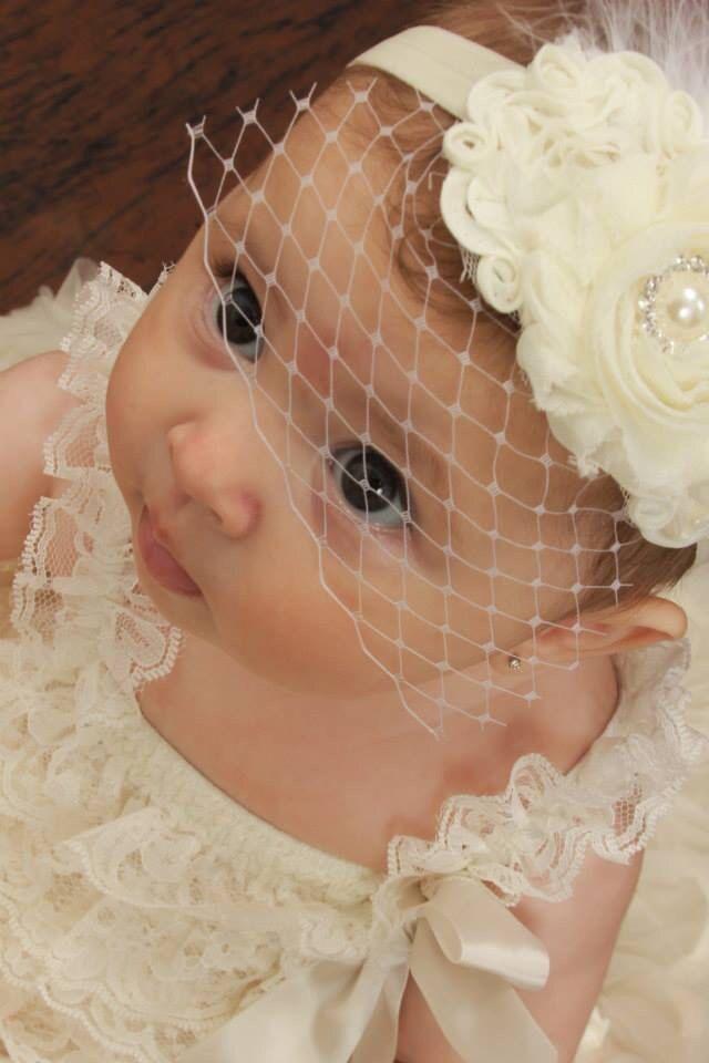 Baby Baptism Headband .. Shabby Chic .. Vintage Christening Headband .. Birdcage Veil .. Shabby Roses Pearls by nanarosedesigns on Etsy
