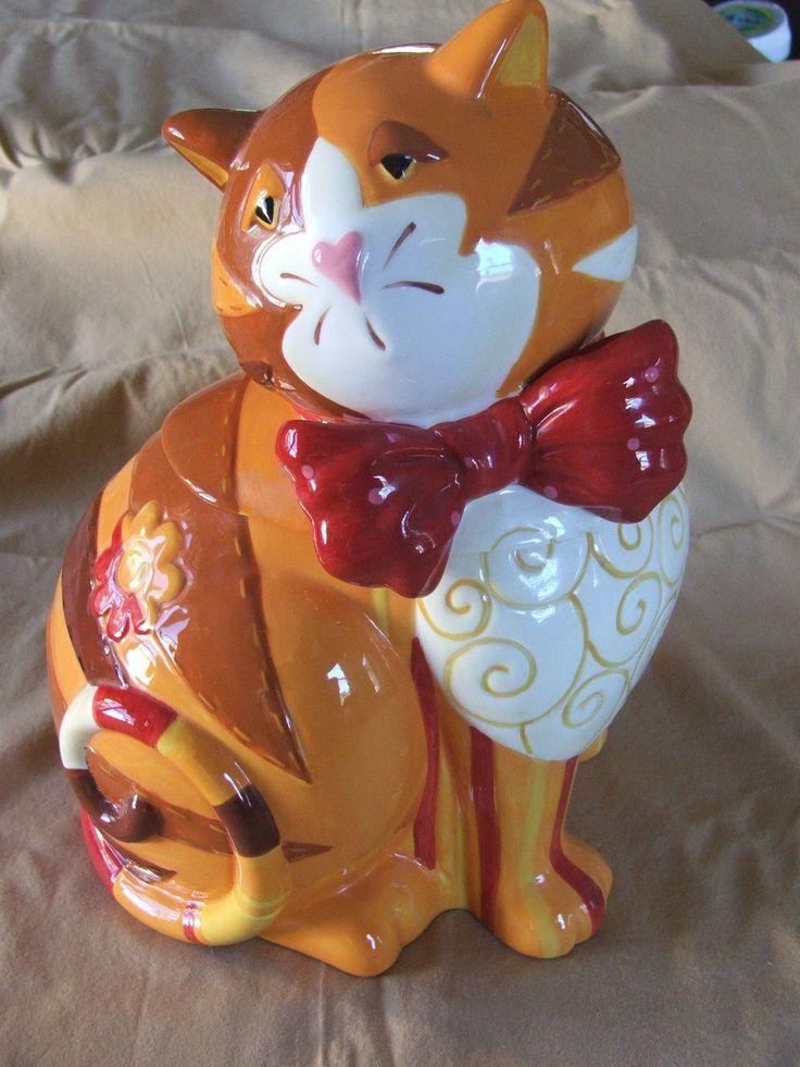 Cat Kitty Cookie Jar Ceramic Tabby w Red Bow Sleepy Attitude Excellent   eBay